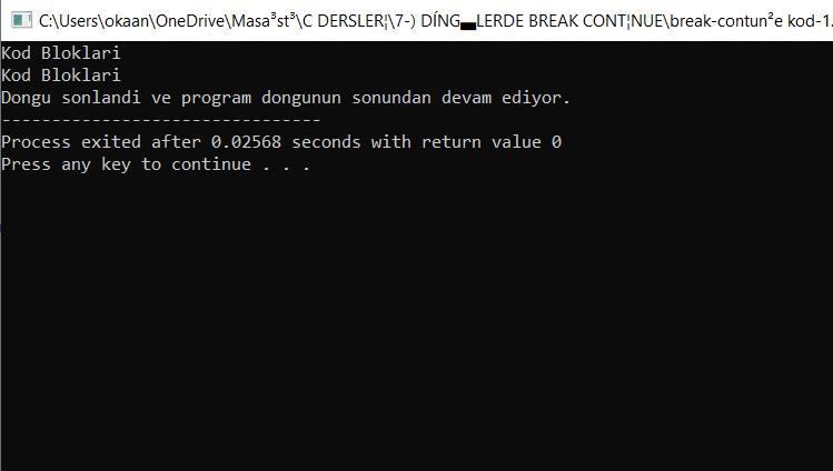 break ve continue kod-1