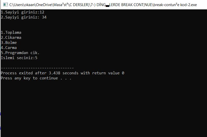 break ve continue -kod-2