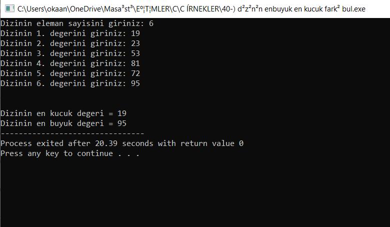 c_dizinin_enbuyuk_ve_enkucuk_elemanını_bulma