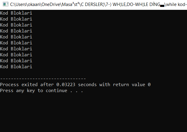 while döngüsü -kod-1